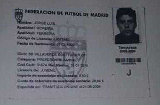 Ficha Federativa Jorge Luis Moreira Ferreira.